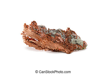 Isolated Raw Copper Nugget - Close-up of a native copper...