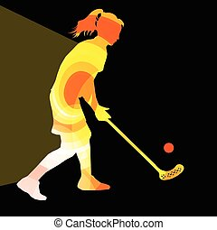 Floorball player woman silhouette hockey with stick and ball...