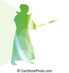 Kendo training sport man silhouette illustration vector...