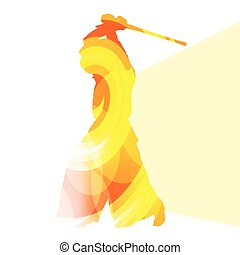 Kendo training sport man silhouette illustration vector background colorful concept