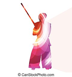 Kendo training sport man silhouette illustration vector...