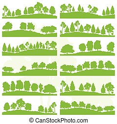 Forest trees and bushes wild nature silhouettes landscape...