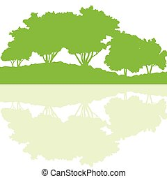 Forest trees wild nature silhouettes landscape illustration background vector ecology concept with abstract reflection in water