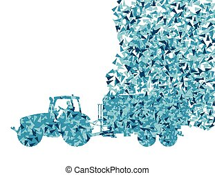 Tractor with trailer vector background concept made of...