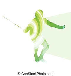Fencing man silhouette background colorful concept made of...