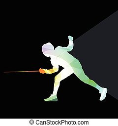 Fencing man silhouette background colorful concept - Fencing...