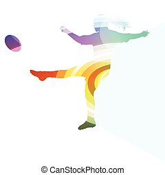 Rugby woman player silhouette background colorful concept...