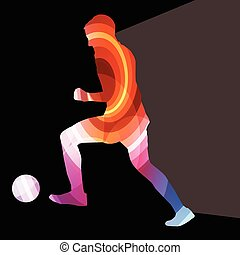 Soccer football player silhouette background colorful...