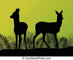 Deer doe in grass field background ecology concept