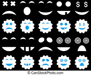 Tool, gear, smile, emotion icons. Glyph set style is bicolor...