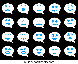 Chat emotion smile icons. Glyph set style is bicolor flat...