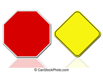 yellow sign - Road sign isolated background on white