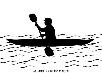kayaking - illustration, silhouette of man in a kayak