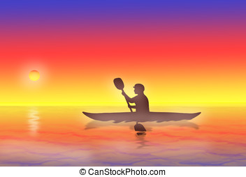 kayaking - illustration, silhouette of man kayaking at...
