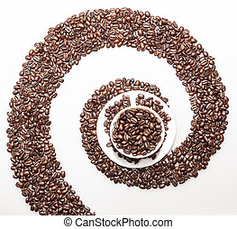 Coffee whirl symbol made with coffee beans