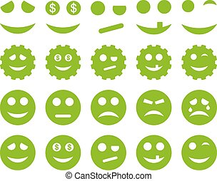 Tools, gears, smiles, emoticons icons. Vector set style is...
