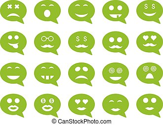 Chat emotion smile icons. Vector set style is flat images,...