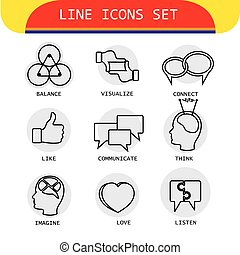 vector line icons of human actions like loving, listening,...