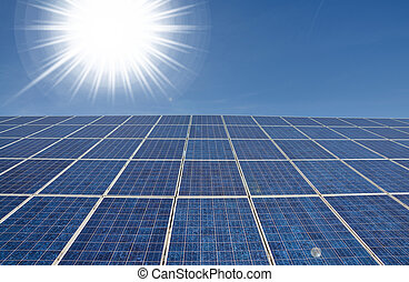 Bright sun with solar panel - Modern solar panel with bright...