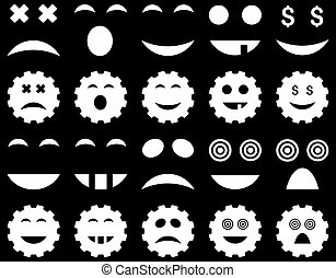 Tool, gear, smile, emotion icons. Vector set style is flat...