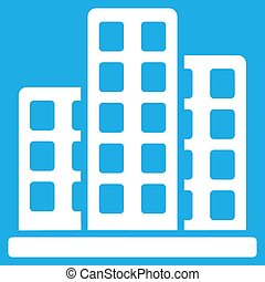City Icon - City icon. Vector style is flat symbol, white...