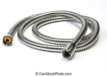 Water hose isolated chrome plated shower pipe - Water hose...