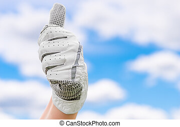 satisfied gesture of hand in a glove golf against the sky