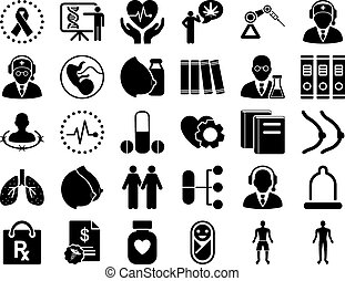 Medical Icon Set. These flat icons use black color. Vector...