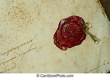 old grunge paper background with sealing wax
