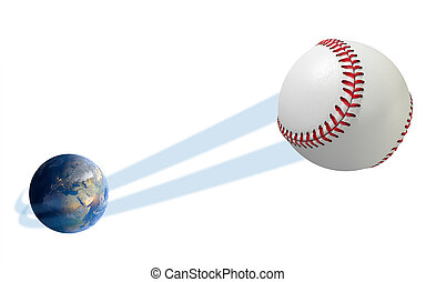 Earth With Ball Swoosh Isolated - A sporting concept showing...
