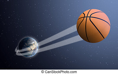 Earth With Ball Swoosh In Space - A sporting concept showing...
