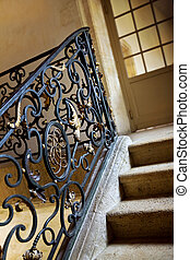Handrail - Wrought iron of an handrail in a French mansion