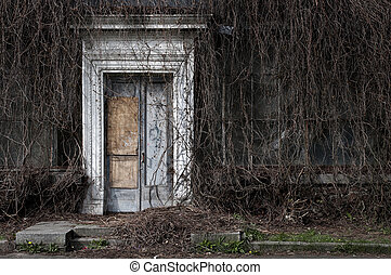 Door to an old abandoned orangery - Entrance to the old...