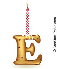 Letter E Birthday Candle - Letter E birthday candle in cake...
