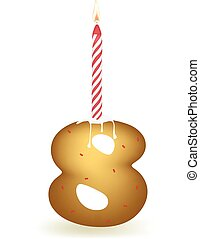 Number Eight Birthday Candle
