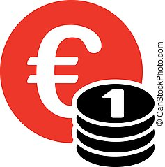 One euro coin stack icon