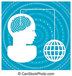 Global communications - mans head with a network Concept of...