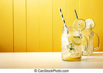 caseiro, limonada, em, pedreiro, jars, ,