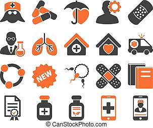 Medical bicolor icons - Medical icon set. Style is bicolor...