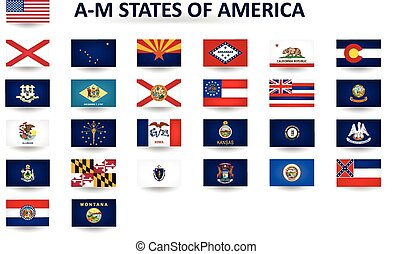 A-M States Of America - Set of flags of the United States of...