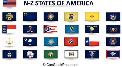 N-Z States Of America - Set of flags of the United States of...