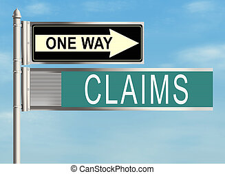 Claims. Road sign on the sky background. Raster...