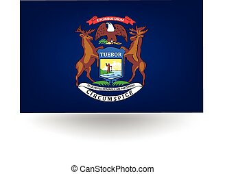 Michigan State Flag - Official flag of the state of...