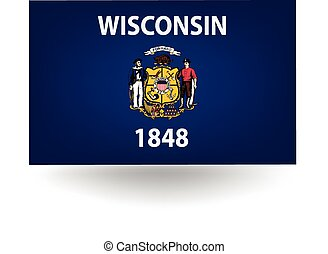 Wisconsin State Flag - Official flag of the state of...
