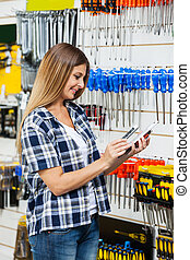 Kunde, Abtastung,  product's,  mobilephone,  Barcode, durch