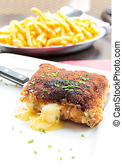 Chicken cordon bleu with deep fried potato