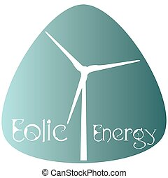 Eco Energy - Isolated blue label with text and an icon for...