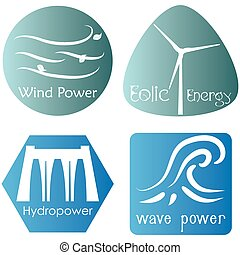 Eco Energy - Set of colored labels with text and icons for...