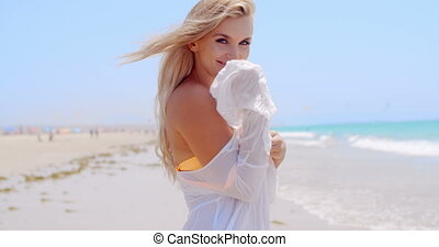 Adorable Girl Posing on Tropical Beach She Wearing White...
