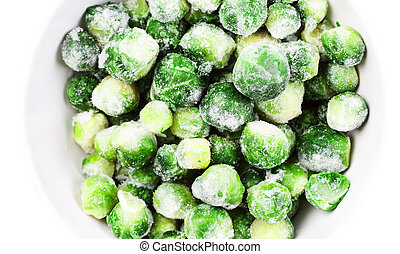 Brussels sprouts cabbage isolated on white background -...